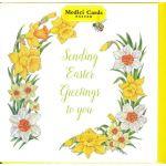 """メディチ イースターカード """"Daffodil and Narcissi border with bee"""""""