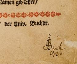 タイトル・ページへのサイン(バッハの署名と「1733年」の書き込み)
