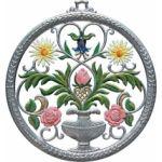 すず製オーナメント/花瓶 丸枠 9461
