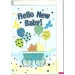 出産お祝いカード「Hello New Baby!」 G250-114 ブルー(聖句シール付き)
