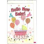 出産お祝いカード「Hello New Baby!」 G250-113 ピンク(聖句シール付き)