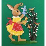 すず製オーナメント/ハンドパペットで遊ぶウサギの女の子 12697