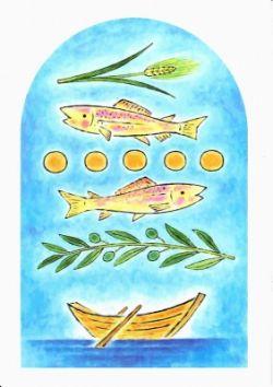 久住友里 ポストカード 「5つのパンと2匹の魚、ガリラヤ湖に浮かぶ主の舟、オリーブ、麦」